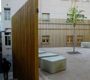 Parque Vigas laminadas de madera castaño