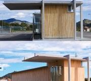 fachada Vigas laminadas de madera de cerezo