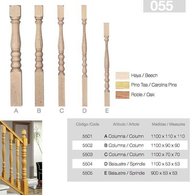 Balaustre de madera roble stock
