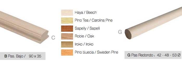 Pasamanos balaustres madera roble haya pini+